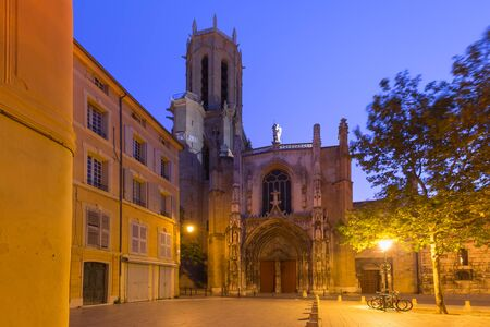 Aix Cathedral or Cathedral of the Holy Saviour of Aix-en-Provence at night, Provence, southern France Reklamní fotografie