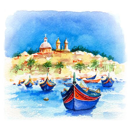 Watercolor sketch of traditional eyed colorful boats Luzzu and church in the Harbor of Mediterranean fishing village Marsaxlokk, Malta