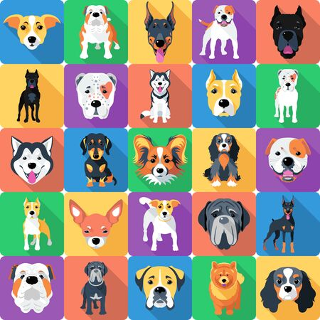 Seamless pattern with dogs flat design 일러스트