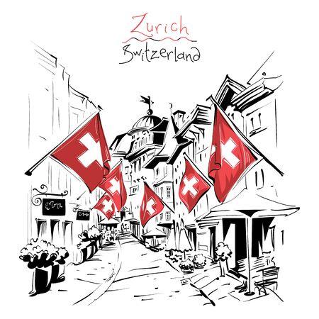 Old Town of Zurich, Switzerland Фото со стока - 129780233