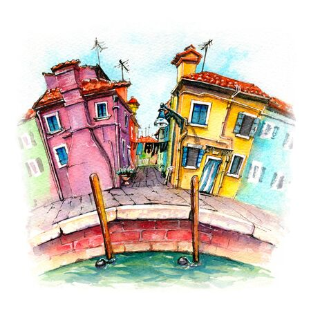 Colorful houses on Burano, Venice