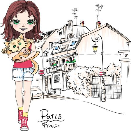 Vector cute girl with cat in Paris, France Illusztráció