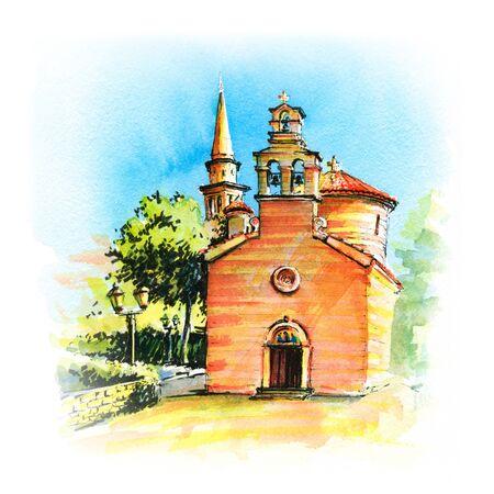 Watercolor sketch of Saint Ivan and Holy Trinity churches of Montenegrin town Budva, Montenegro Фото со стока