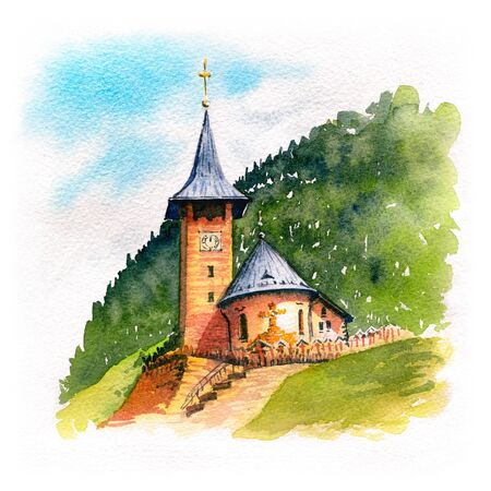 Traditional Swiss village wood church in the mountains, Switzerland