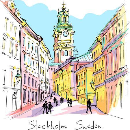 Dibujo vectorial de la Iglesia de San Nicolás, la Catedral de Estocolmo o Storkyrkan en la noche, Gamla Stan en el casco antiguo de Estocolmo, capital de Suecia Ilustración de vector