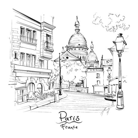 Vector black and white sketch of the Place du Tertre and the Sacre-Coeur, quarter Montmartre in Paris, France