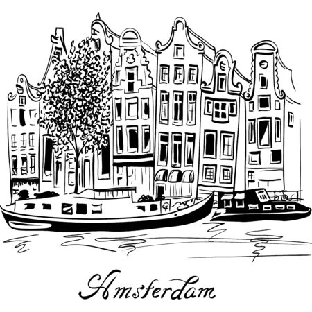 Black and white hand drawing, city view of Amsterdam typical houses, Holland, Netherlands.