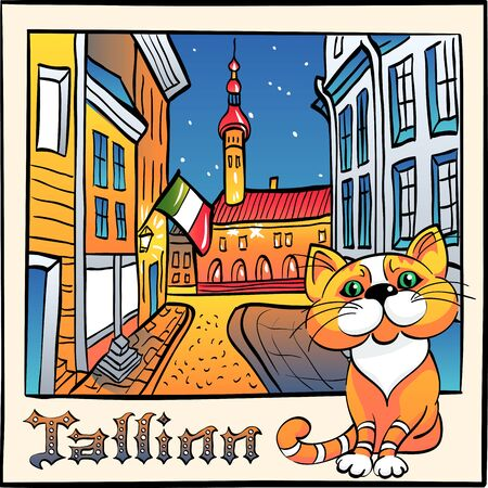 Vector sketch with cute red cat and Town Hall in Medieval Old Town of Tallinn, Estonia