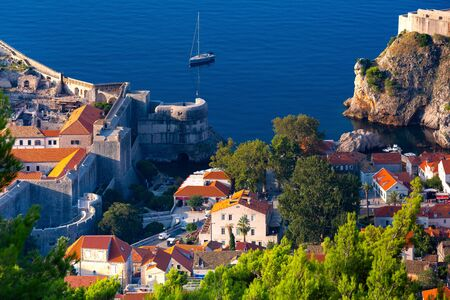 Aerial view of city wall and fort in the morning, Dubrovnik, Croatia