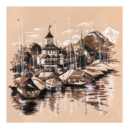Spiez Church and Castle on Lake Thun with yachts in the Swiss canton of Bern, Spiez, Switzerland. Picture made by markers on kraft paper