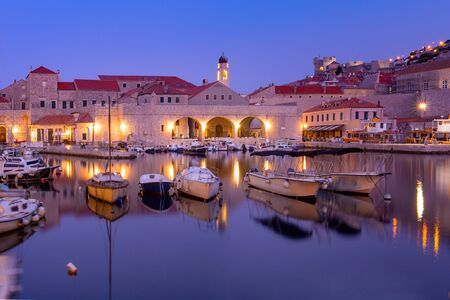 Old Harbour and Old Town of Dubrovnik at sunrise, Croatia