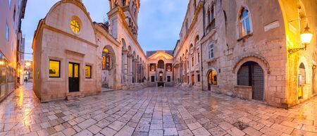 Panoramic view of Peristyle, central square within Diocletian Palace in Old Town of Split, the second largest city of Croatia in the morning