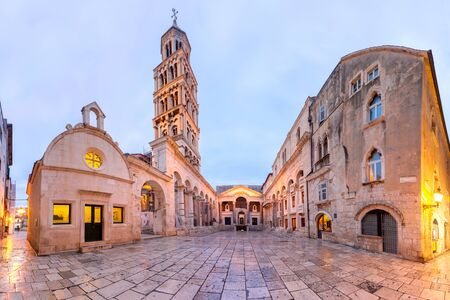 Panoramic view of Saint Domnius Cathedral in Diocletian Palace in Old Town of Split, the second largest city of Croatia in the morning