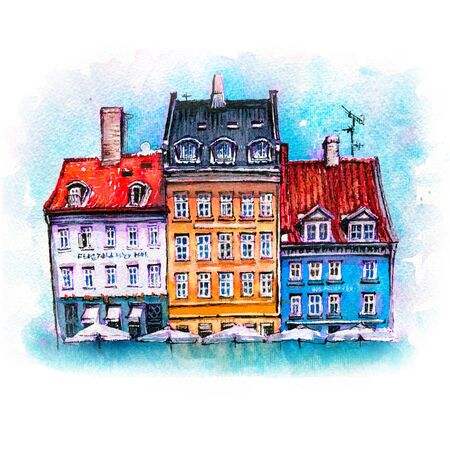 Watercolor sketch of colorful facades of old houses on Nyhavn harbour in the Old Town of Copenhagen, capital of Denmark.