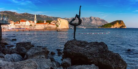 Panoramic view of The Old Town of Montenegrin town Budva on the Adriatic Sea, Montenegro