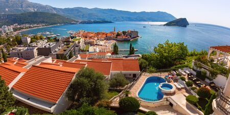 Panoramic aerial view of The Old Town of Montenegrin town Budva on the Adriatic Sea, Montenegro 写真素材 - 134805835