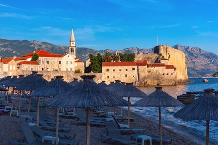 Old Town and beach in Montenegrin town Budva on the Adriatic Sea, Montenegro 写真素材 - 134805837