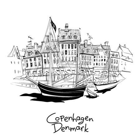 Vektor-Schwarz-Weiß-Skizze von Nyhavn mit Fassaden alter Häuser und alter Schiffe in der Altstadt von Kopenhagen, der Hauptstadt Dänemarks.