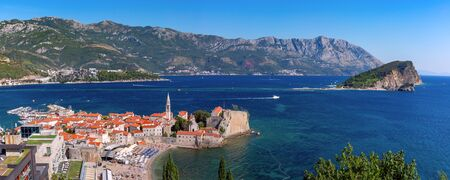 Panoramic aerial view of The Old Town of Montenegrin town Budva on the Adriatic Sea, Montenegro 写真素材 - 134805890
