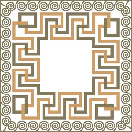 Vector traditional vintage square Greek ornament Meander Illustration