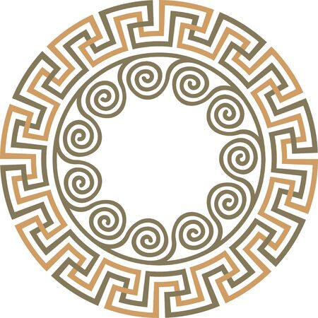 Vector traditional vintage round Greek ornament Meander Illustration