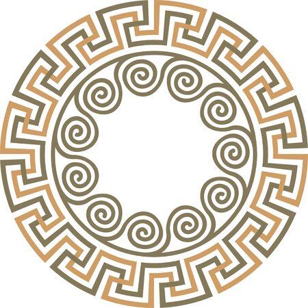 Vector traditional vintage round Greek ornament Meander