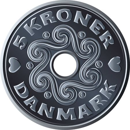 Danish money five krone coin with hole in the middle. Krone, official currency of Denmark, Greenland, and the Faroe Islands.