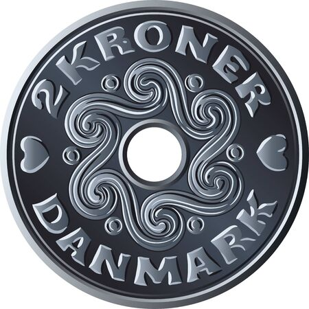 Danish money two krone coin with hole in the middle. Krone, official currency of Denmark, Greenland, and the Faroe Islands. Illusztráció