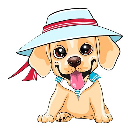 Vector cute little pale puppy Labrador Retriever dog wearing a sailor suit
