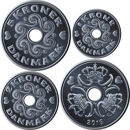 Vector set of cupronickel coins one, two and five krone with hole in middle. Krone, official currency of Denmark, Greenland, and Faroe Islands