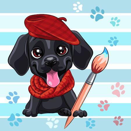 Vector cute little black puppy Labrador Retriever dog artist with brush Vector Illustration