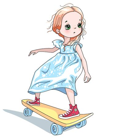 Vector cute baby girl skateboarder in white dress and red trainers