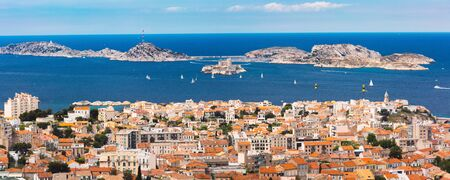 Panoramic aerial view of Marseilles skyline, islands and harbor, Marseille, the second largest city of France Stock Photo