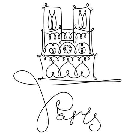Vector hand drawing sketch. One line minimalist style Illustration Paris sights. Notre Dame de Paris