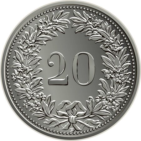 20 centimes coins of the Swiss franc minted reverse with Helvetia shown standing, the official coin used in Switzerland and Liechtenstein