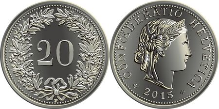 20 centimes coin Swiss franc, 20 in wreath of gentian on reverse, head of Liberty and CONFOEDERATIO HELVETICA on obverse, official coin in Switzerland Ilustração