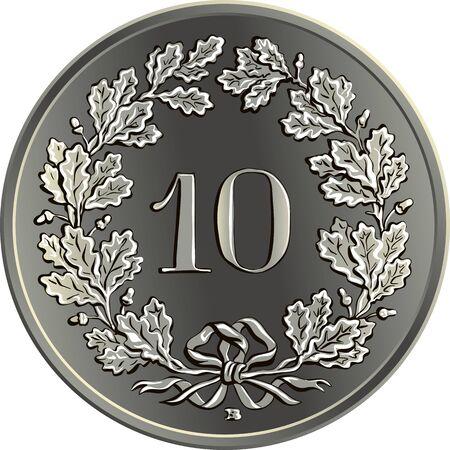 Reverse of 10 centimes coin Swiss franc with 10 in wreath of gentian, official coin in Switzerland and Liechtenstein Ilustración de vector