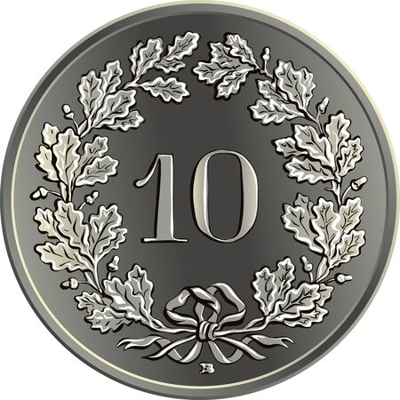 Reverse of 10 centimes coin Swiss franc with 10 in wreath of gentian, official coin in Switzerland and Liechtenstein