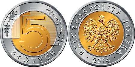 vector Polish Money five zloty gold and silver coin with eagle in golden crown on obverse, value and 5 leaves in ring portion on reverse
