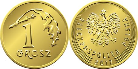 vector Polish Money one grosz copper coin reverse with Value and 1 leaves obverse with eagle in golden crown