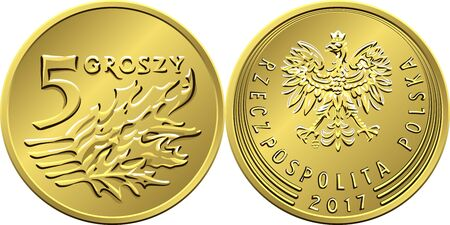 vector Polish Money five Groszy copper coin reverse with Value and 5 leaves obverse with eagle in golden crown