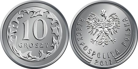 vector Polish Money ten groszy silver coin reverse with Value and 10 encircling leaves, obverse with eagle in crown Illusztráció