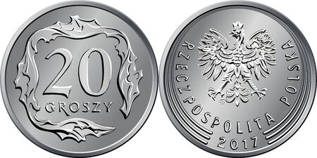 vector Polish Money twenty groszy silver coin reverse with Value and 20 square-shaped leaves, obverse with eagle in crown