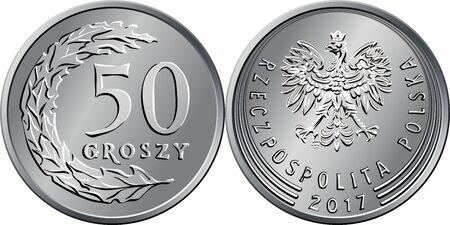 vector Polish Money fifty groszy silver coin reverse with Value and 50 leaves in semicircle shape, obverse with eagle in crown