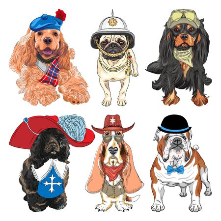 Set of dogs. Cavalier King Charles Spaniel, Basset Hound as sheriff, English Bulldog, Portuguese Water Dog as musketeer, Pug in British helmet
