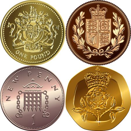 British money coins: gold one pound sterling, sovereign with coat of arms, bronze new one penny with portcullis, twenty pences with Crowned Rosa Tudor