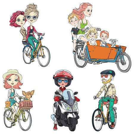 Vector set people ride a bike. Cute girl with dog, hipster young bearded man, mother with kids, two girls and girl on scooter