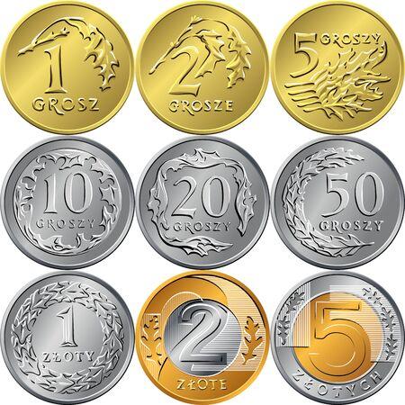 ensemble d'images vectorielles de pièces d'or et d'argent polonaises inversées zloty et grosz avec valeur et aigle dans une couronne Vecteurs