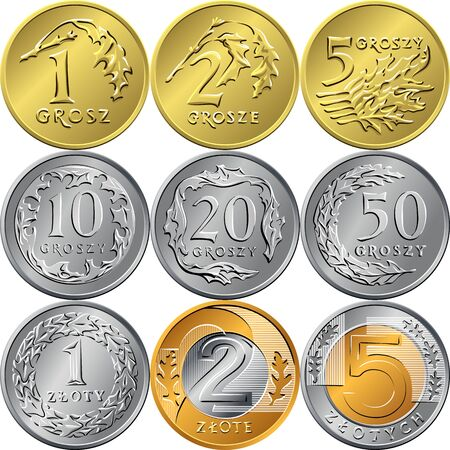 Vektorsatz von umgekehrten polnischen Zloty- und Grosz-Gold- und Silbermünzen mit Wert und Adler in einer Krone Vektorgrafik