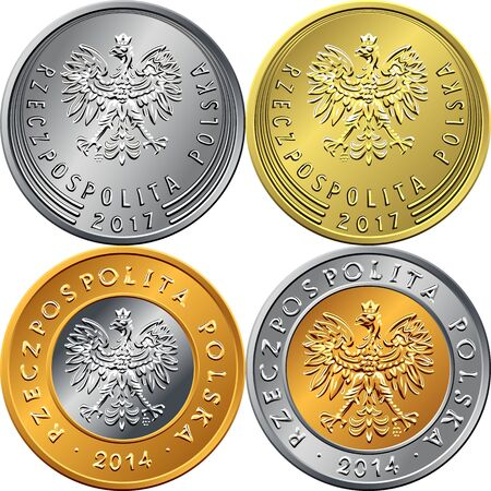 vector set of obverse Polish Money zloty and grosz gold and silver coins with eagle in a crown Illusztráció